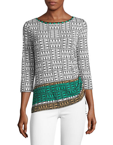 Ruby Rd Embellished Geo Border Top with Tied Hem-BEIGE-Large