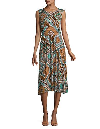 Ruby Rd Diamond Print A-Line Dress-BLUE-Small