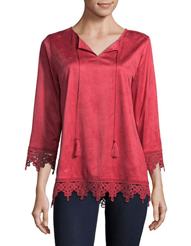Ruby Rd Lightweight Suede Top-PAPRIKA-Small