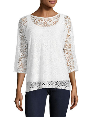 Ruby Rd Kimono-Sleeve Lace Twofer Top-WHITE-Medium