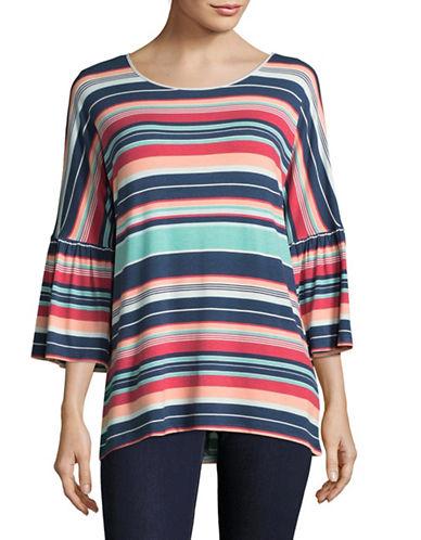 Ruby Rd Stripe Bell Sleeve Top-MULTI-Large