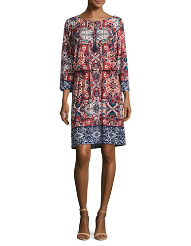 Ruby Rd Folkloric Blouson Dress-MULTI-Large