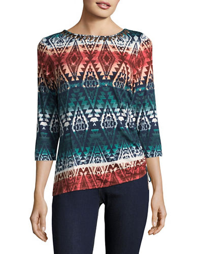 Ruby Rd Embellished Asymmetrical Hem Blouse-MULTI-X-Large