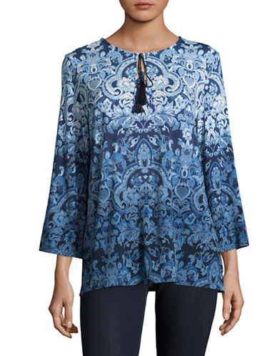 Ruby Rd Printed Flared-Sleeve Blouse-BLUE-Small