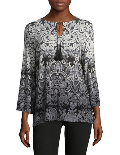 Ruby Rd Printed Flared-Sleeve Blouse-GREY-Small