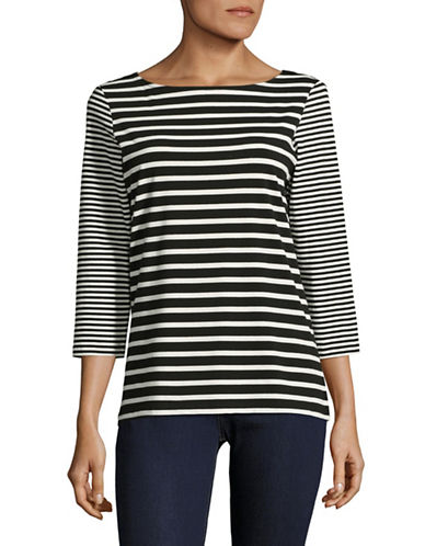 Ruby Rd Classic Striped Shirt-BLACK-Small
