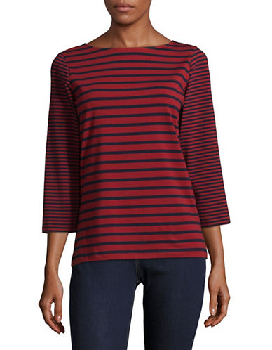 Ruby Rd Classic Striped Shirt-RED-X-Large