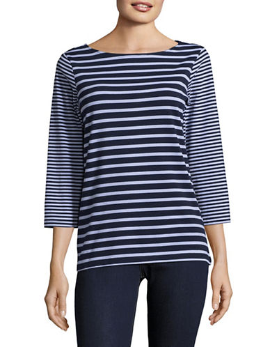 Ruby Rd Classic Striped Shirt-BLUE-Medium