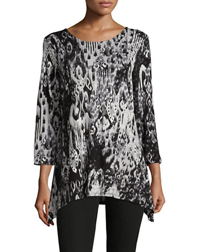 Ruby Rd Knit Paisley Ikat Top-GREY-Small