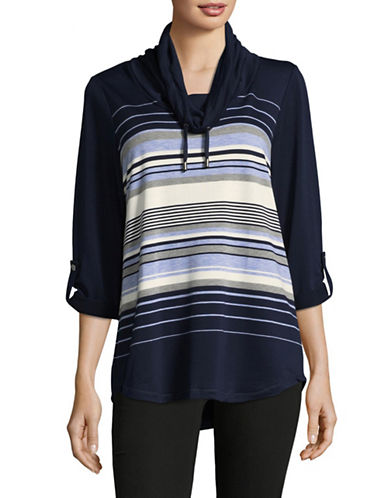 Ruby Rd Striped Cowl Neck Sweater-BLUE-X-Large