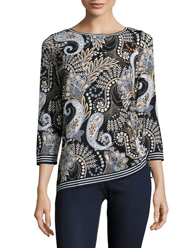 Ruby Rd Asymmetric Paisley Blouse-BLUE MULTI-X-Large