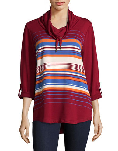 Ruby Rd Striped Cowl Neck Sweater-RED-Small
