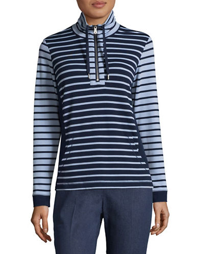 Ruby Rd Mix Stripe Pullover-BLUE-X-Large