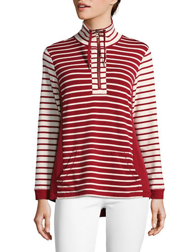 Ruby Rd Stripe Knit Drawstring Shirt-RED-Large
