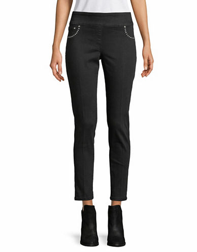 Ruby Rd Embellished Denim Pants-BLACK-14