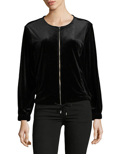 Ruby Rd Zip Front Velvet Jacket-BLACK-Small