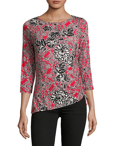 Ruby Rd Floral Print Top-RED MULTI-Medium