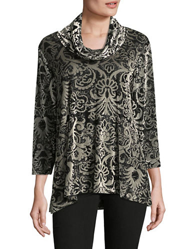 Ruby Rd Ikat Velvet Top-BLACK/WHITE-X-Large