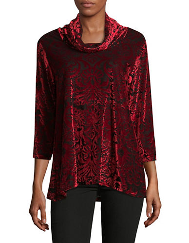 Ruby Rd Ikat Velvet Top-RED/BLACK-Large
