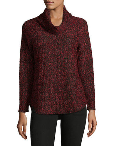 Ruby Rd Knit Cowl Pullover-RED/BLACK-X-Large