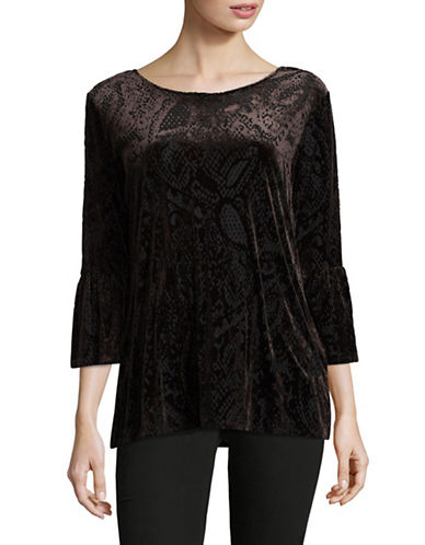 Ruby Rd Knit Velvet Bell Sleeve Tunic-BLACK-Large