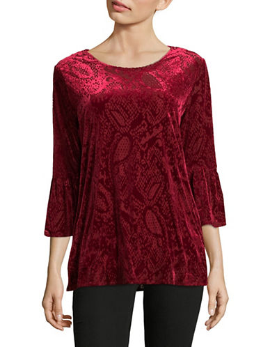 Ruby Rd Knit Velvet Bell Sleeve Tunic-RED-X-Large