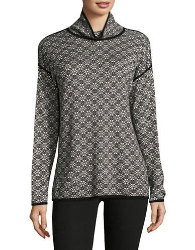 Ruby Rd Jacquard Sweater-WHITE/BLACK-Medium