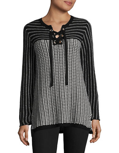 Ruby Rd Colourblock Lace-Up Tunic-BLACK-Large