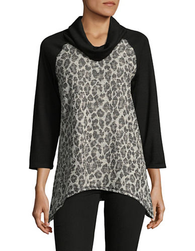 Ruby Rd Shimmer Leopard Spots Knit Top-GREY-Medium