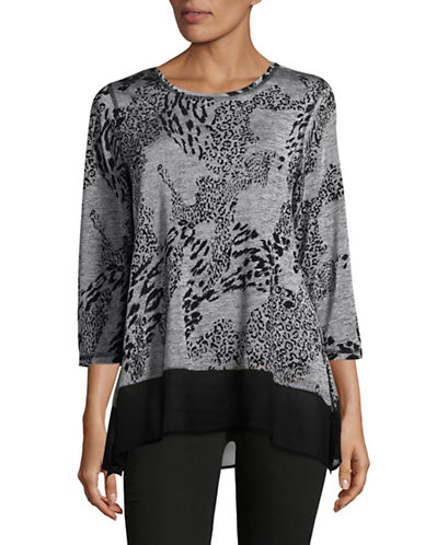 Ruby Rd Hatchi Mixed Print Top-BLACK MULTI-Small