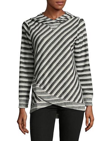 Ruby Rd Asymmetrical Stripe Hoodie-GREY-Large