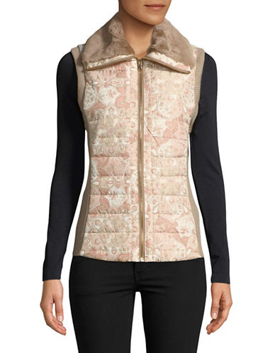 Ruby Rd Shearling-Trim Vest-PINK-Medium
