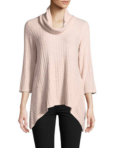 Ruby Rd Cowl Neck Ribbed Top-PINK-Medium