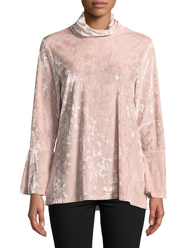 Ruby Rd Bell-Sleeve Velvet Tunic-PINK-Large