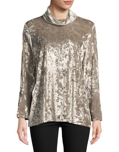 Ruby Rd Bell-Sleeve Velvet Tunic-BEIGE-Small