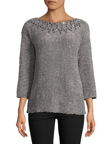 Ruby Rd Eyelash Embellished Sweater-GREY-Large