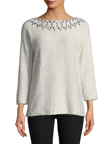 Ruby Rd Eyelash Embellished Sweater-WHITE-Large
