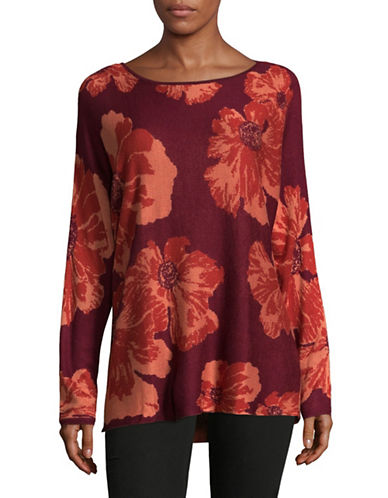 Ruby Rd Bloom Jacquard Knit Sweater-RED-Medium