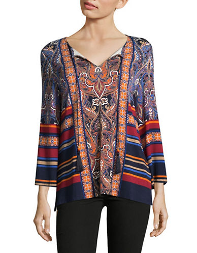 Ruby Rd Multi-Pattern Knit Top-BLUE-Large