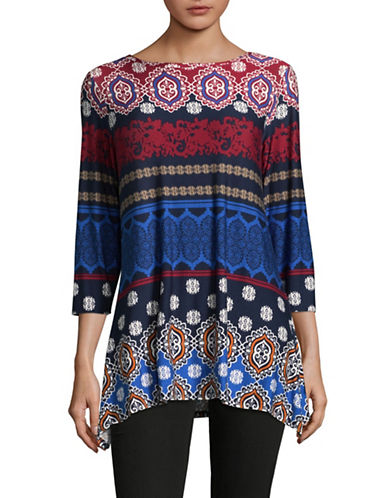 Ruby Rd Multi-Pattern Knit Top-RED MULTI-Medium