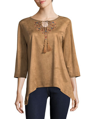 Ruby Rd Embroidered Suede Tunic-BROWN-Large