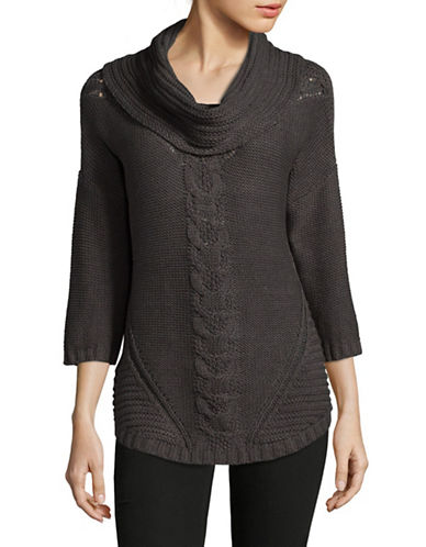 Ruby Rd Chunky Cable Sweater-CHARCOAL-Large