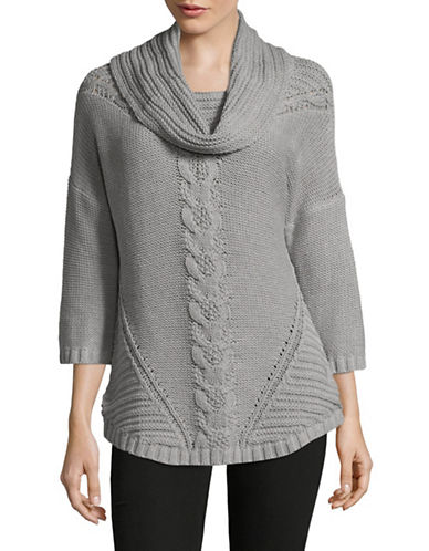 Ruby Rd Chunky Cable Sweater-GREY-Medium