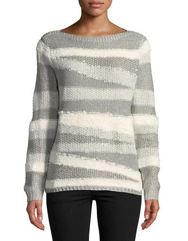 Ruby Rd Mixed Novel Yarn Sweater-GREY-X-Large 89656715_GREY_X-Large