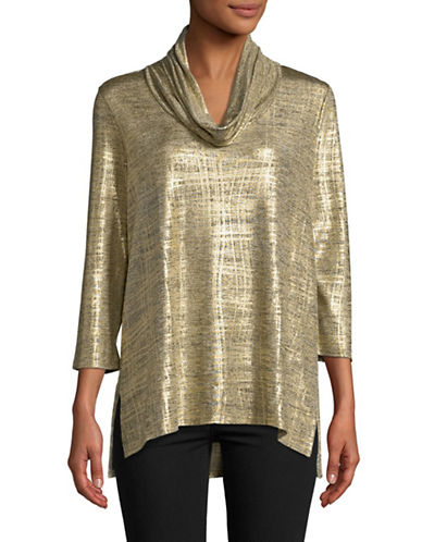 Ruby Rd Hi-Lo Melange Top-GOLD-Small