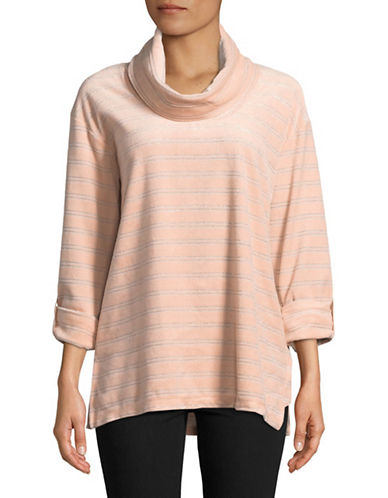 Ruby Rd Cowl Neck Velour Top-PINK-Medium