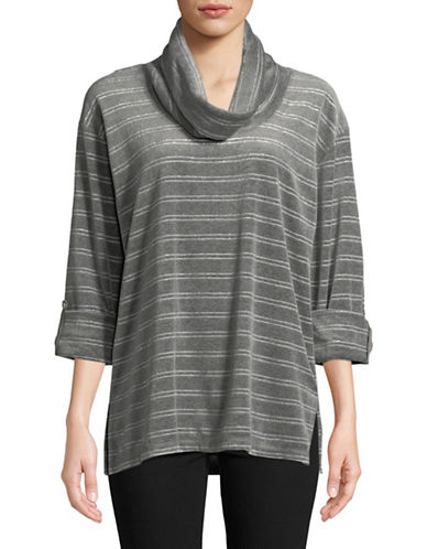 Ruby Rd Cowl Neck Velour Top-GREY-Large