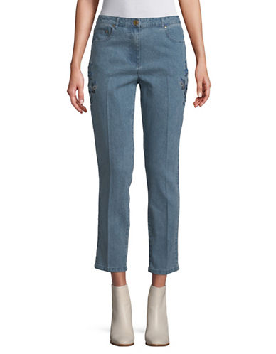 Ruby Rd Embroidered Cropped Jeans-BLUE-12