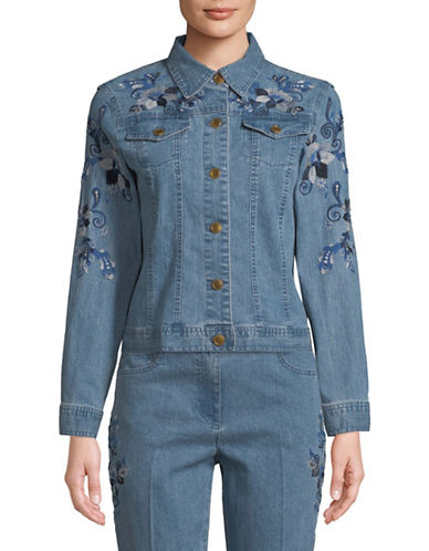 Ruby Rd Embroidered Denim Jacket-BLUE-8