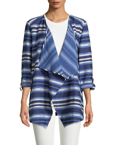 Ruby Rd Open Front Striped Jacket-BLUE-X-Large